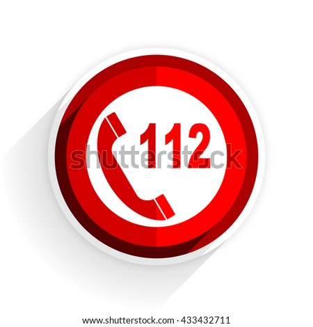 emergency call icon, red circle flat design internet button, web and mobile app illustration - stock photo
