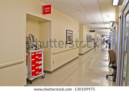 Emergency Code Cart Hospital Hallway - stock photo