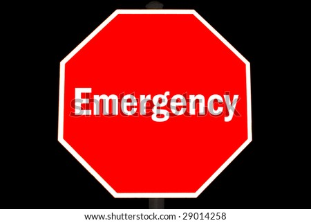 Emergency concept on a red stop sign - stock photo