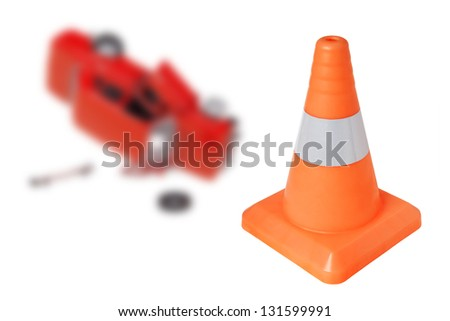 Emergency cone and a car on a white background. concept - stock photo