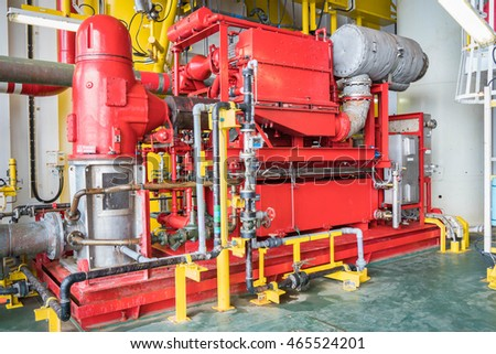 Emergency diesel engine fire water pump at oil and gas platform for safety,fire fighting equipment.