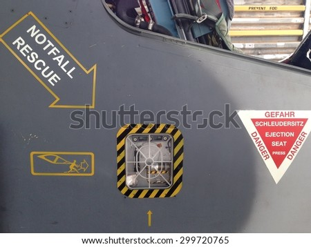 emergency ejection canopy. - stock photo