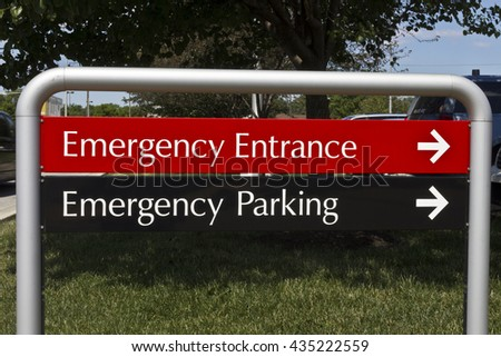 Emergency Entrance and Parking sign for a Local Hospital I - stock photo