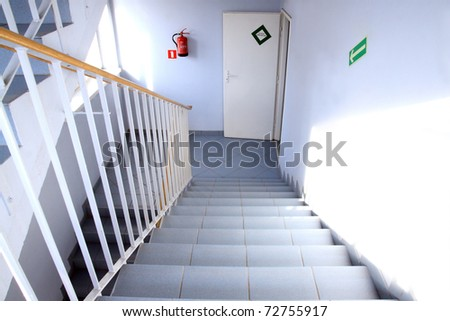 Emergency Exit and staircase - stock photo