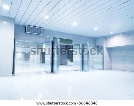 Emergency exit in underground passage - stock photo