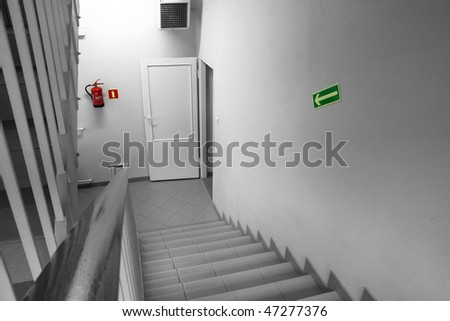 Emergency Exit in workplace - stock photo
