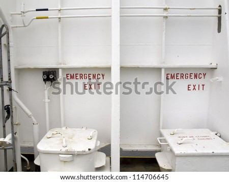 Emergency exit on passenger ferry