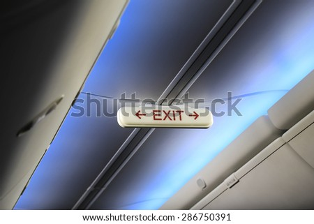 Emergency Exit Row In Airplane - stock photo