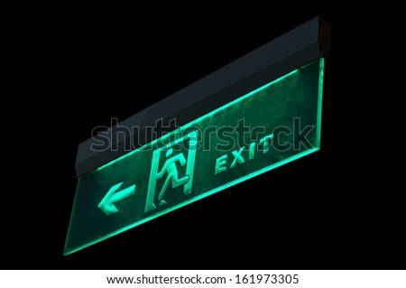 Emergency exit sign in modern offices inside an industrial plant,china - stock photo