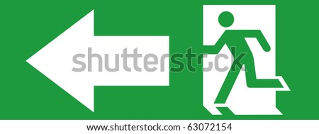EMERGENCY EXIT SIGN LEFT SIDE - stock photo