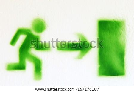 Emergency exit - symbol - stock photo