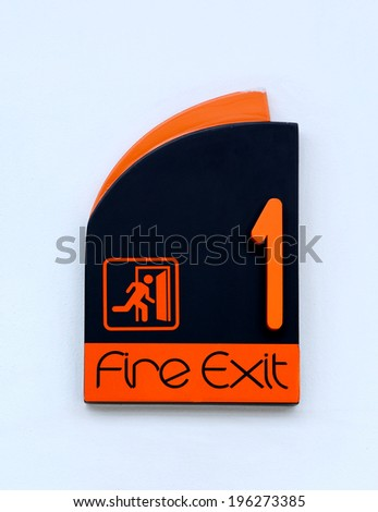 Emergency fire exit sign - stock photo