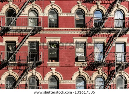 Emergency fire stairs in New York City. - stock photo