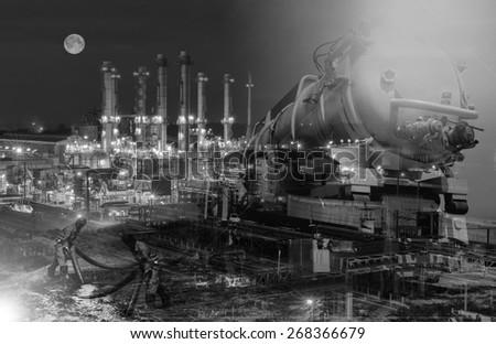 emergency  for oil spill . - stock photo