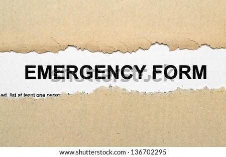 Emergency form - stock photo