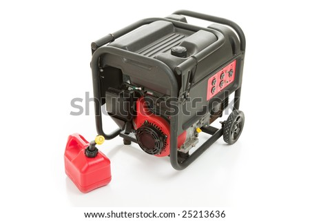 Emergency gas powered electric power generator and can of gasoline.  Isolated on white background. - stock photo