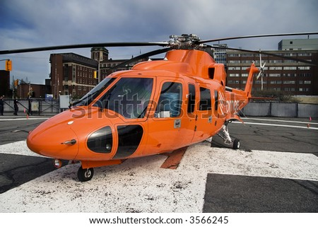 Emergency helicopter before a storm in Ottawa, Ontario, Canada - stock photo