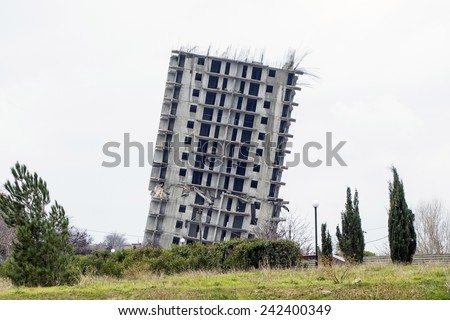 emergency house for demolition in the city of Sevastopol - stock photo