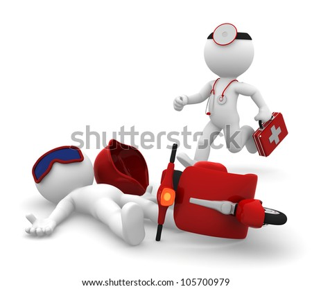 Emergency Medical Services. Paramedic running to a man lying down after scooter accident. Isolated - stock photo