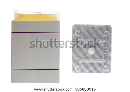 Emergency oral contraceptive pill box and blister pack isolated on white background - stock photo