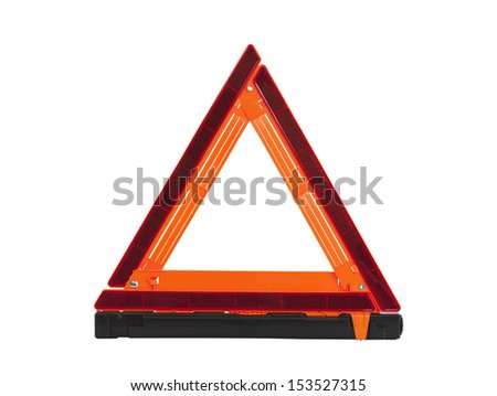 Emergency reflective road triangle isolated with clipping path.