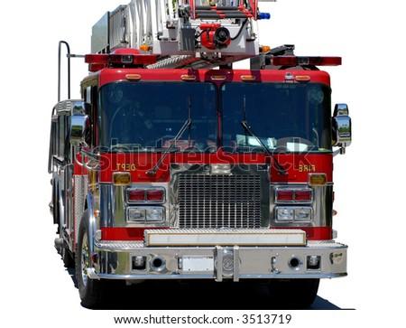 emergency response vehicle or firetruck on white background - stock photo