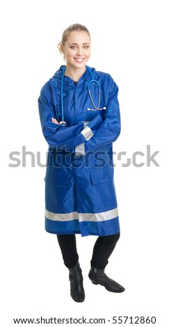 Emergency service worker woman smile, stand, on white