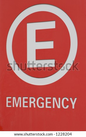 Emergency Sign Close Up - stock photo