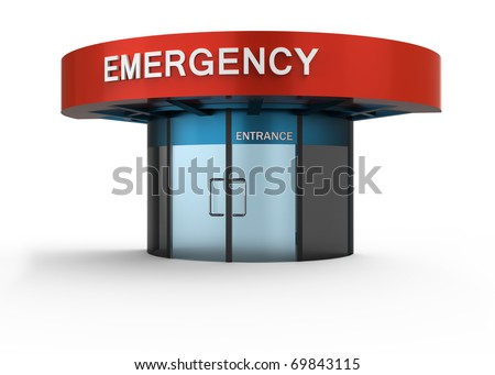 Emergency sign in hospital. Isolated white background. - stock photo
