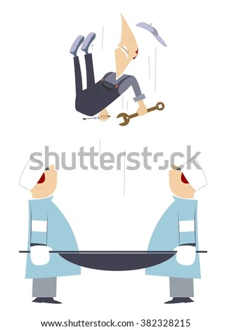Emergency. Two physicians are keeping a stretcher so to catch a falling worker   - stock photo