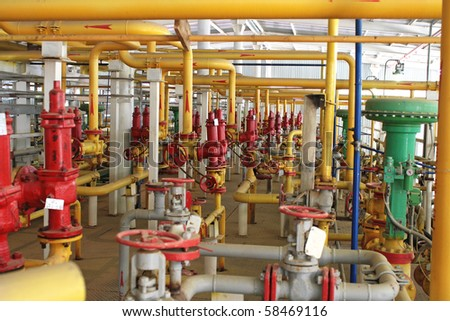 Emergency valve, compressor section. Input, output gas pipe. - stock photo