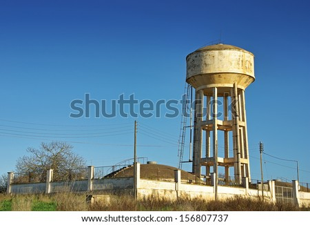 Emergency Water Tank elevated over a mortar structure