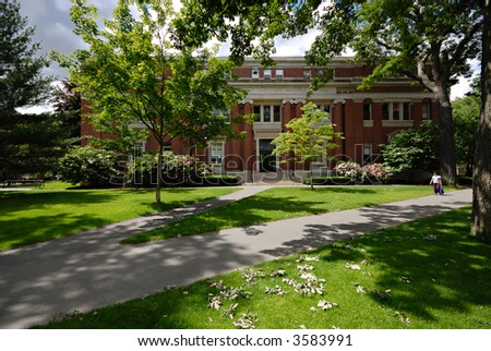 Emerson Hall in Harvard Yard - stock photo