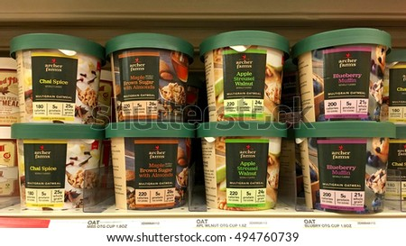 Emeryville, CA - October 4, 2016: Grocery store shelf with Archer Farms brand multigrain oatmeal in pre-packed cartons. Just add hot water.