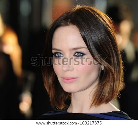 """Emily Blunt arrives for the """"Salmon Fishing in the Yemen"""" premiere at the Odeon Kensington, London. 10/03/2012 Picture by: Simon Burchell / Featureflash - stock photo"""
