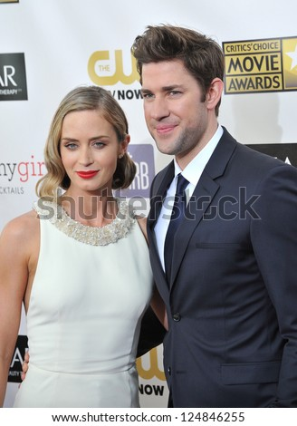 Emily Blunt & husband John Krasinski at the 18th Annual Critics' Choice Movie Awards at Barker Hanger, Santa Monica Airport. January 10, 2013  Santa Monica, CA Picture: Paul Smith - stock photo
