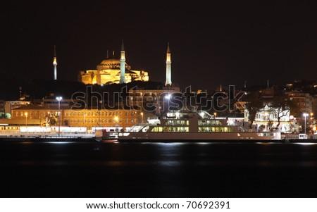 Eminonu and Hagia Sophia - stock photo