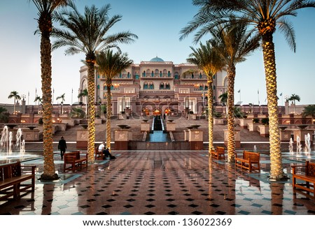Emirates palace is one of the most expensive hotel in Arab Emirates build at the cost of �£3.9 billion. - stock photo