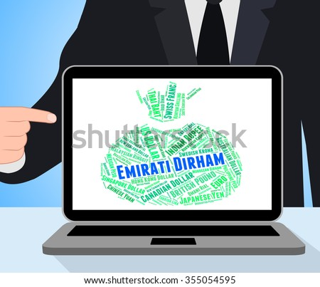 Emirati Dirham Representing United Arab Emirates And Exchange Rate - stock photo