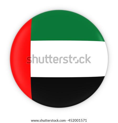 Emirati Flag Button - Flag of United Arab Emirates Badge 3D Illustration - stock photo