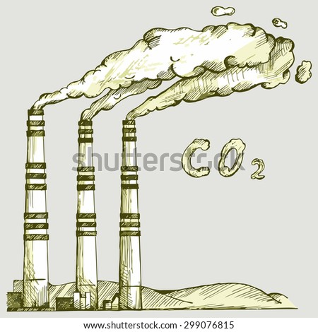 Emission from coal power plant. Co2 cloud. Raster version - stock photo