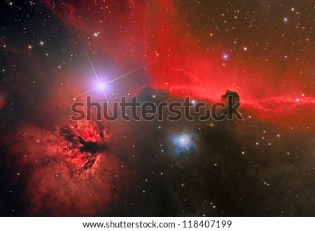 emission nebula and dark nebula in the constellation Orion - stock photo