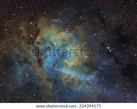 Emission Nebula SH2-132. This is a picture of emission nebula SH2-132, which is about 10,400 light years away in the constellation Cepheus. It was taken with narrowband filters Ha, SII, and OIII. - stock photo