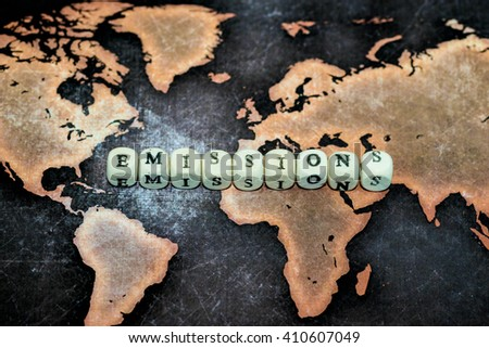 EMISSIONS on cubes - stock photo