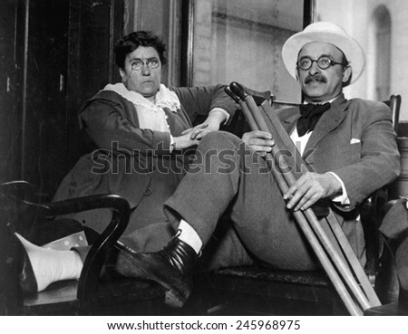Emma Goldman and Alexander Berkman, Prominent leftist anarchist were convicted of conspiracy against the Military U.S. draft law. They were sentenced to two years in prison and fined $10,000 each. - stock photo