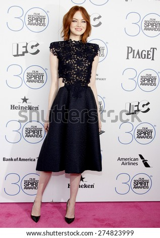 Emma Stone at the 2015 Film Independent Spirit Awards held at the Santa Monica Beach in Santa Monica on February 21, 2015.  - stock photo