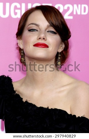 Emma Stone at the Los Angeles premiere of 'House Bunny' held at the Mann Village Theatre in Westwood on August 20, 2008.  - stock photo