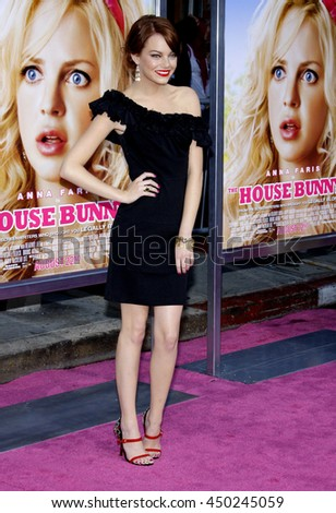 Emma Stone at the Los Angeles premiere of 'House Bunny' held at the Mann Village Theatre in Westwood, USA on August 20, 2008.  - stock photo