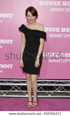 Emma Stone at the Los Angeles premiere of 'The House Bunny' held at the Mann Village Theater in Westwood, USA on August 20, 2008.   - stock photo