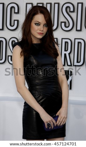 Emma Stone at the 2010 MTV Video Music Awards held at the Nokia Theatre in Los Angeles, USA on September 12, 2010. - stock photo